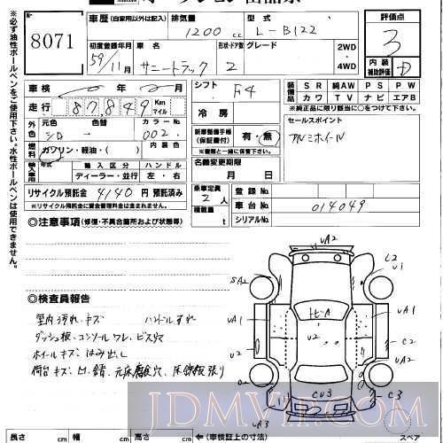 1984 NISSAN SUNNY TRUCK  B122 - 8071 - USS Okayama