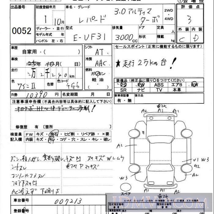 1989 NISSAN LEOPARD  UF31 - 52 - JU Ibaraki