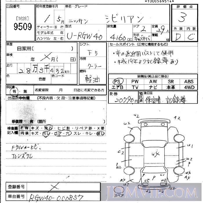 1989 NISSAN SIVILIAN  RGW40 - 9509 - JU Fukuoka