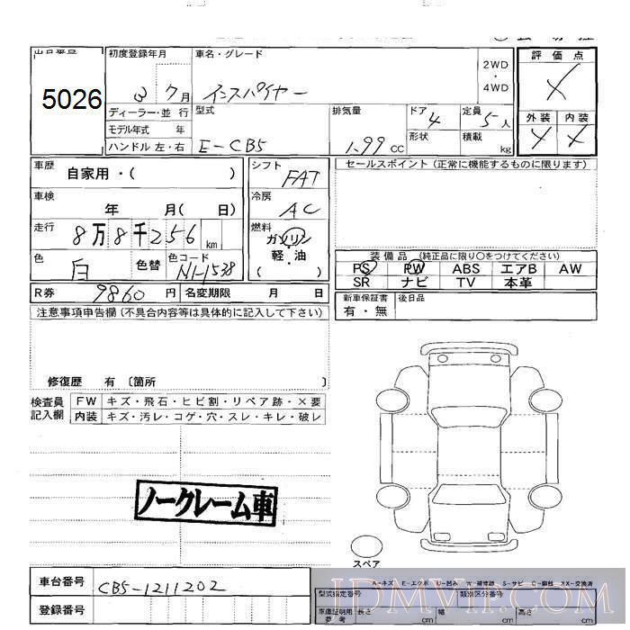 1991 HONDA INSPIRE  CB5 - 5026 - JU Sapporo