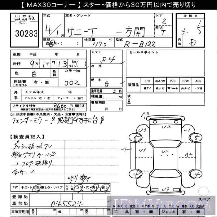 1992 NISSAN SUNNY TRUCK  B122 - 30283 - JU Gifu