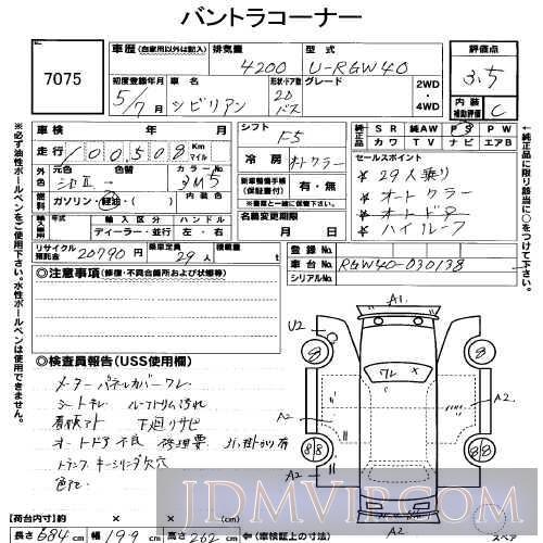 1993 NISSAN CIVILIAN DX RGW40 - 7075 - USS Shizuoka