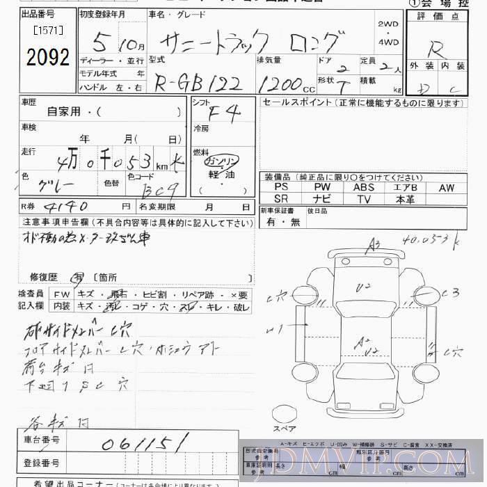1993 NISSAN SUNNY TRUCK  GB122 - 2092 - JU Tokyo