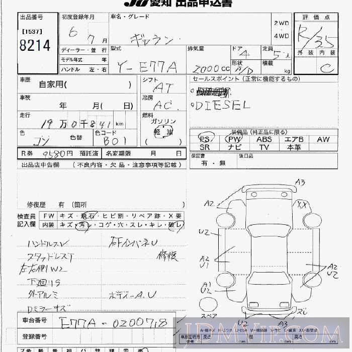 1994 MITSUBISHI GALANT  E77A - 8214 - JU Aichi