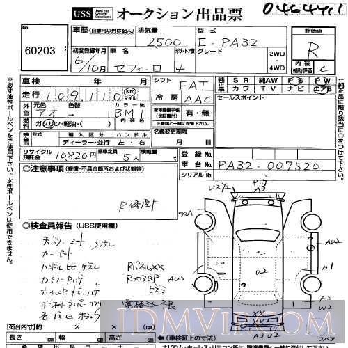 1994 NISSAN CEFIRO  PA32 - 60203 - USS Yokohama