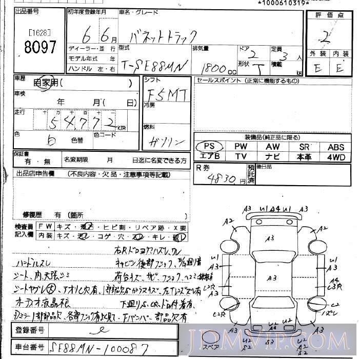 1994 NISSAN VANETTE TRUCK  SE88MN - 8097 - JU Fukuoka