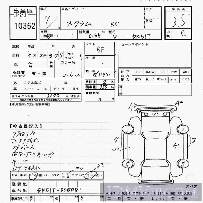 1995 MAZDA SCRUM TRUCK KC_4WD DK51T - 10362 - JU Gifu