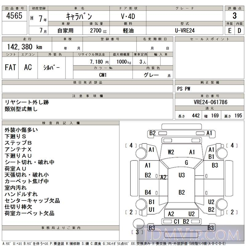 1995 NISSAN CARAVAN  VRE24 - 4565 - TAA Kyushu