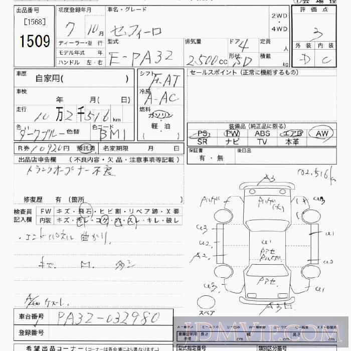 1995 NISSAN CEFIRO  PA32 - 1509 - JU Tokyo