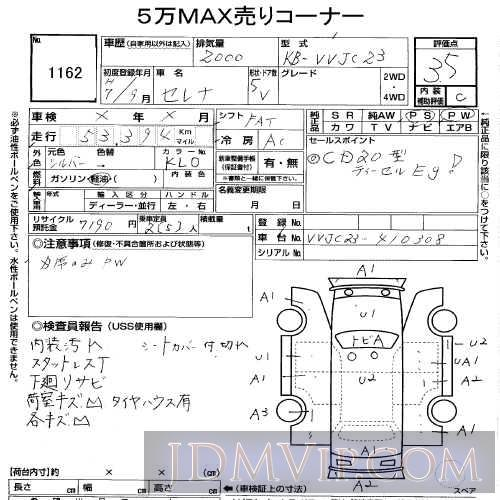 1995 NISSAN SERENA CARGO  VVJC23 - 1162 - USS Tohoku