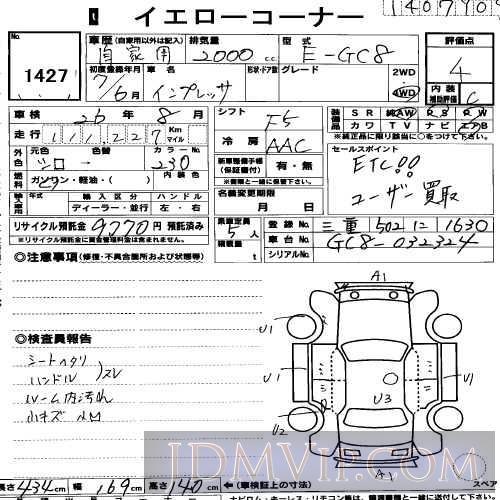 1995 SUBARU IMPREZA  GC8 - 1427 - USS R-Nagoya