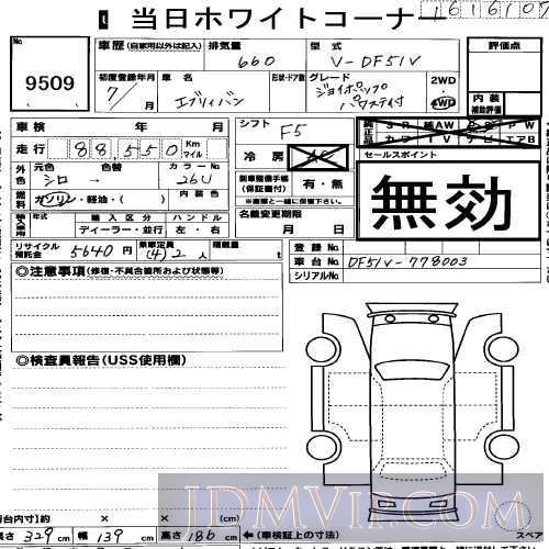 1995 SUZUKI EVERY  DF51V - 9509 - USS R-Nagoya