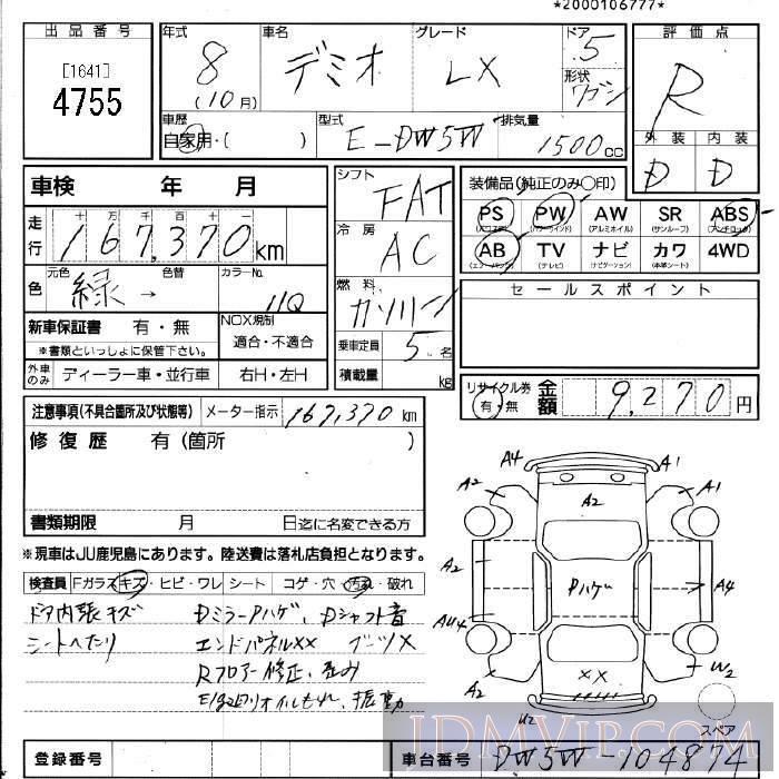 1996 HONDA DEMIO LX DW5W - 4755 - JU Fukuoka