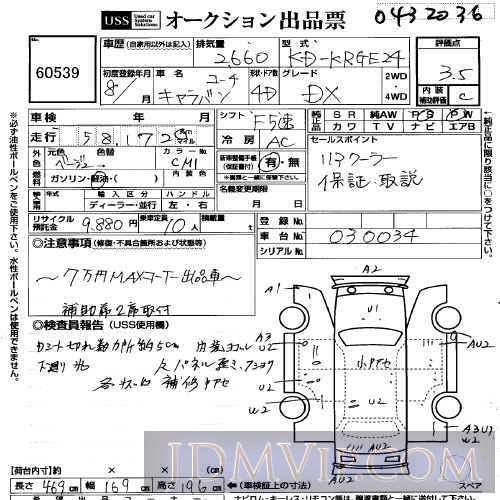 1996 NISSAN CARAVAN DX KRGE24 - 60539 - USS Yokohama