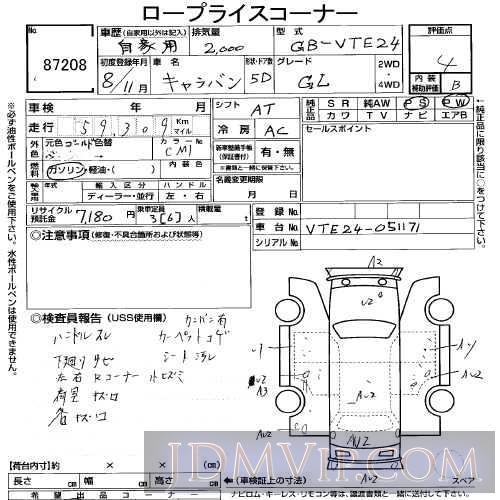 1996 NISSAN CARAVAN GL VTE24 - 87208 - USS Tokyo