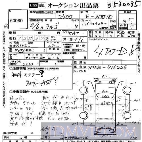 1996 NISSAN LARGO  NW30 - 60080 - USS Yokohama