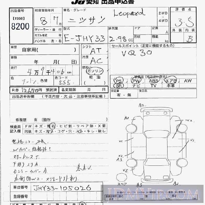 1996 NISSAN LEOPARD  JHY33 - 8200 - JU Aichi