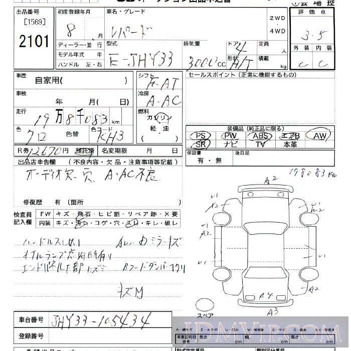 1996 NISSAN LEOPARD  JHY33 - 2101 - JU Tokyo