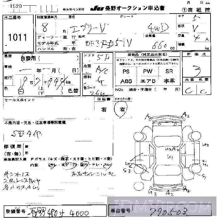 1996 SUZUKI EVERY 4WD DF51V - 1011 - JU Nagano