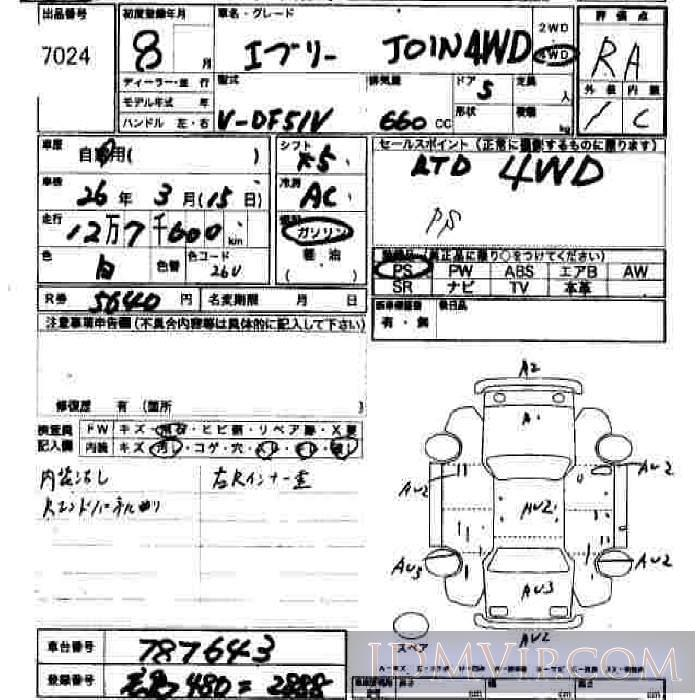 1996 SUZUKI EVERY  DF51V - 7024 - JU Hiroshima