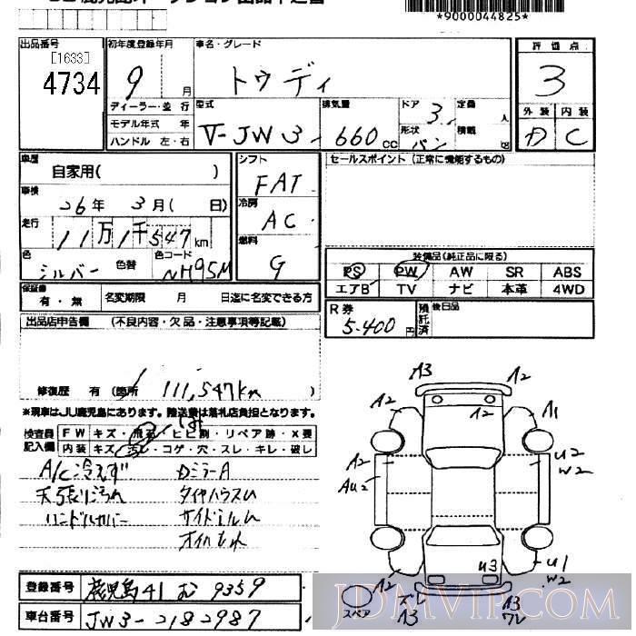 1997 HONDA TODAY  JW3 - 4734 - JU Fukuoka