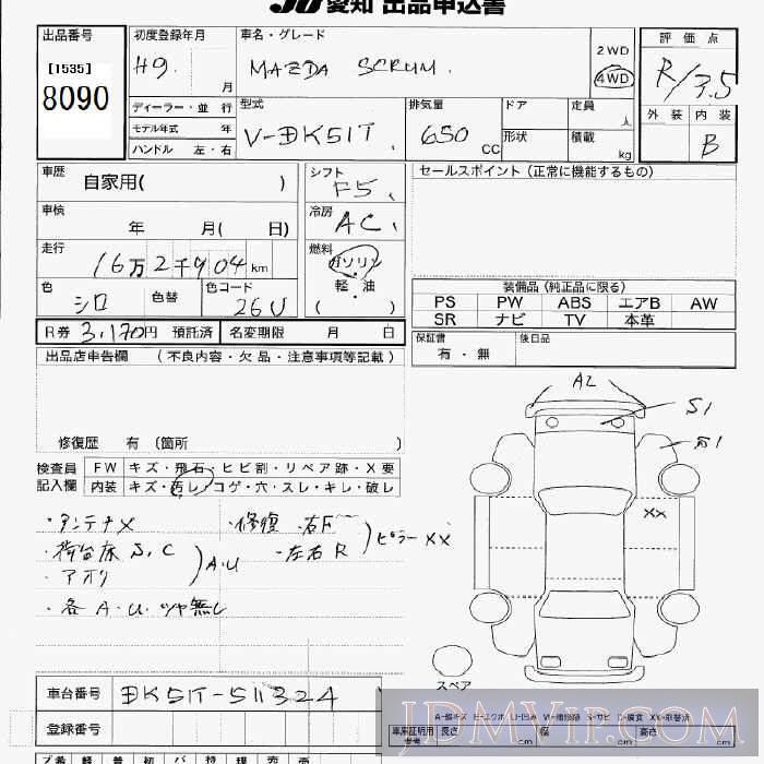 1997 MAZDA SCRUM TRUCK 4WD DK51T - 8090 - JU Aichi