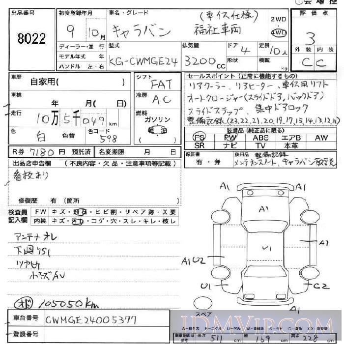 1997 NISSAN CARAVAN  CWMGE24 - 8022 - JU Fukushima