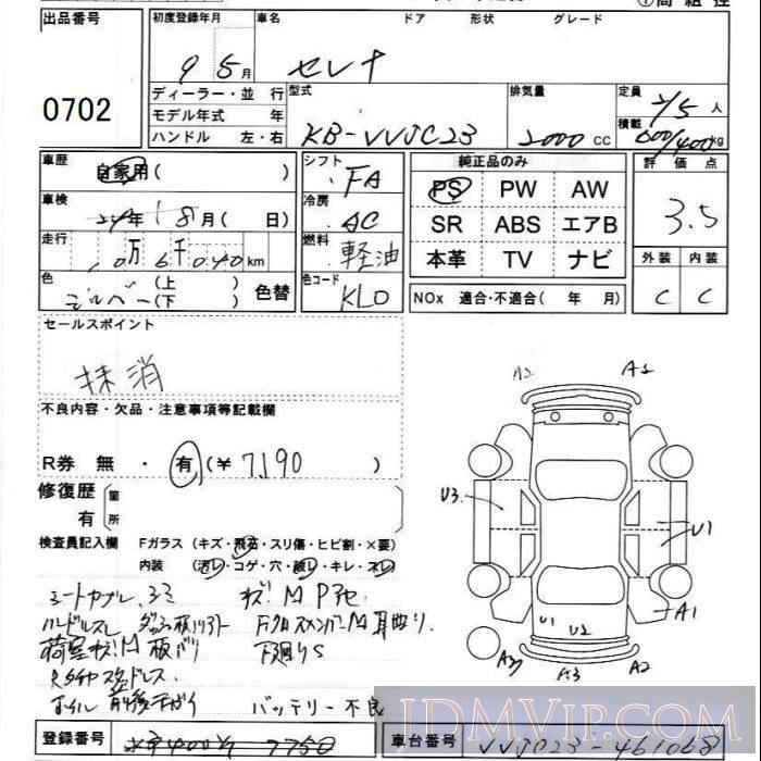 1997 NISSAN SERENA VAN  VVJC23 - 702 - JU Ibaraki