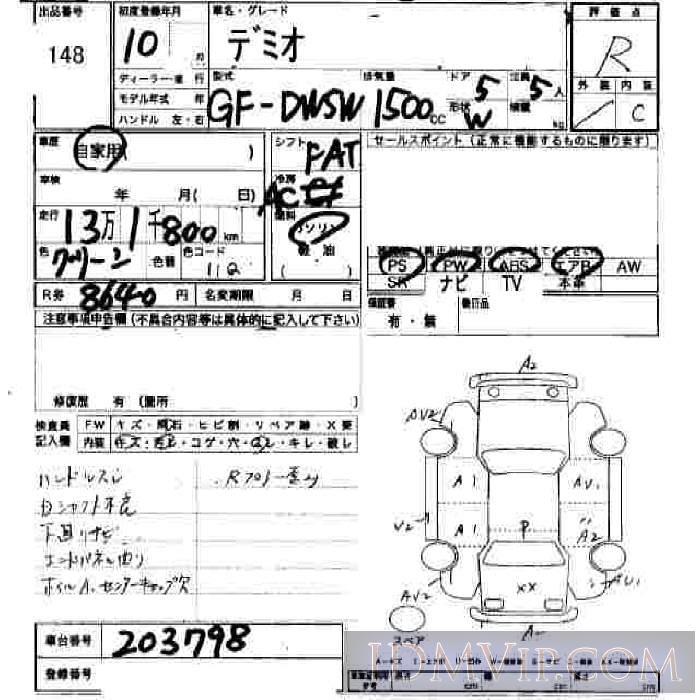 1998 HONDA DEMIO  DW5W - 148 - JU Hiroshima