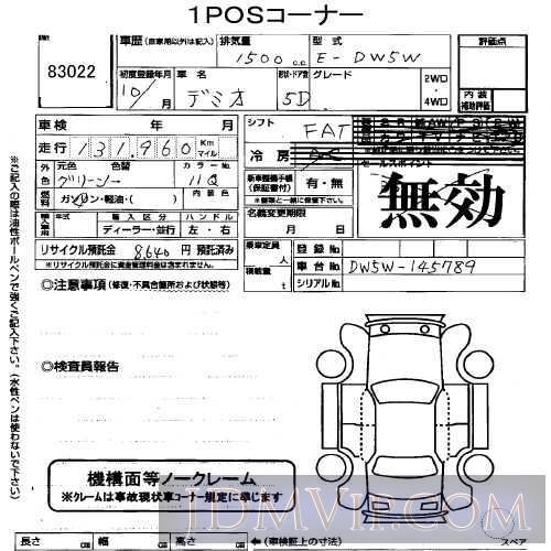1998 MAZDA DEMIO  DW5W - 83022 - USS Tokyo