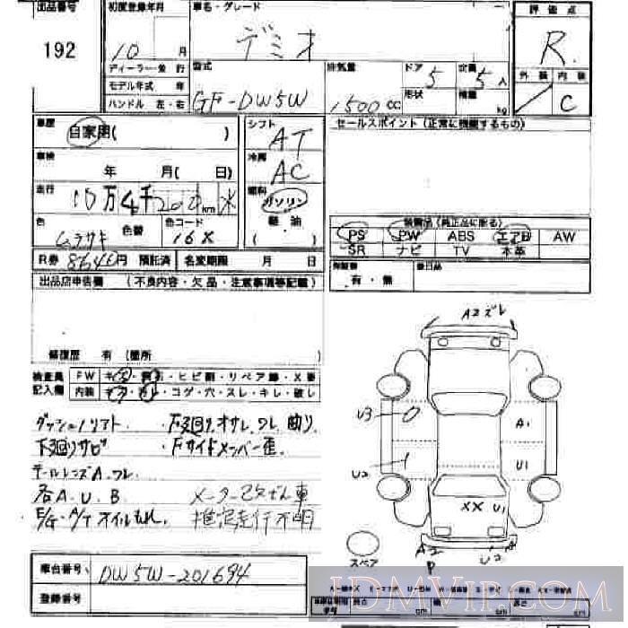 1998 MAZDA DEMIO  DW5W - 192 - JU Hiroshima