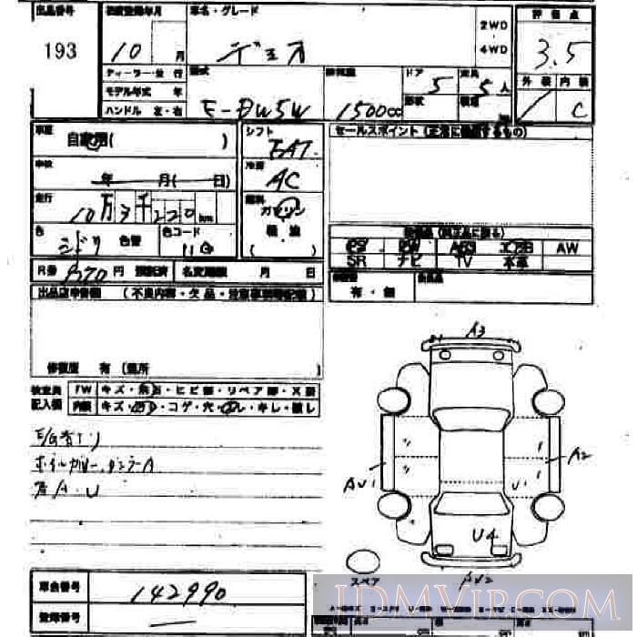 1998 MAZDA DEMIO  DW5W - 193 - JU Hiroshima