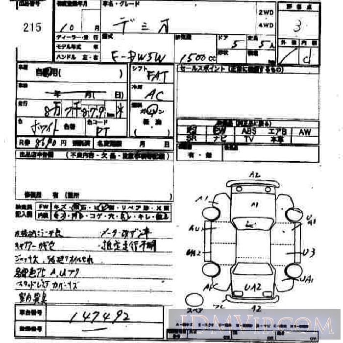 1998 MAZDA DEMIO  DW5W - 215 - JU Hiroshima