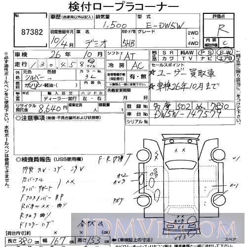 1998 MAZDA DEMIO  DW5W - 87382 - USS Tokyo