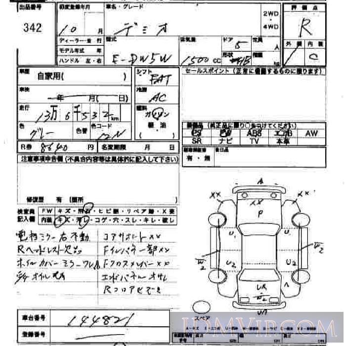 1998 MAZDA DEMIO  DW5W - 342 - JU Hiroshima