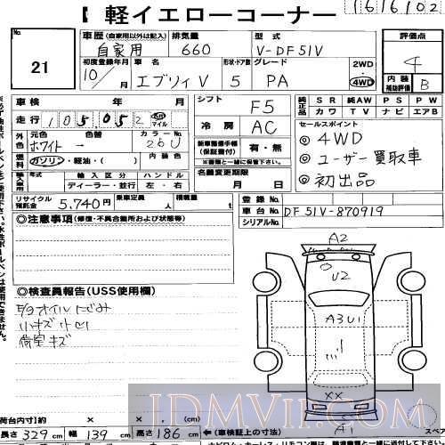 1998 SUZUKI EVERY PA DF51V - 21 - USS R-Nagoya