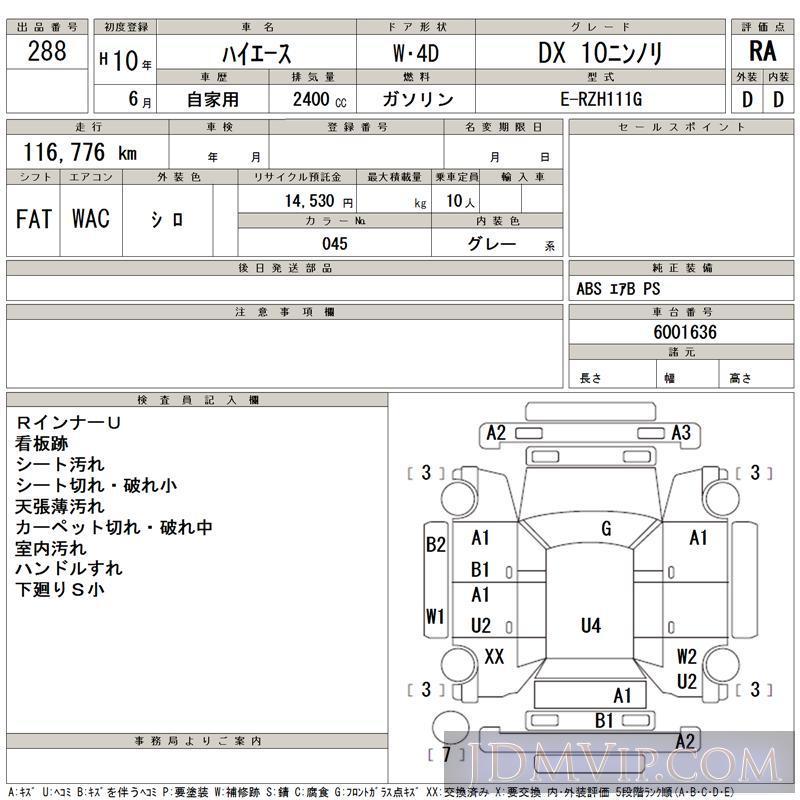1998 TOYOTA HIACE DX_10 RZH111G - 288 - TAA Chubu