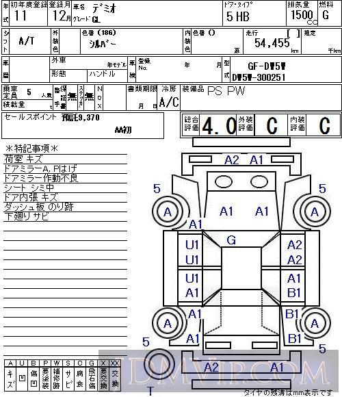 1999 MAZDA DEMIO GL DW5W - 8063 - NAA Tokyo