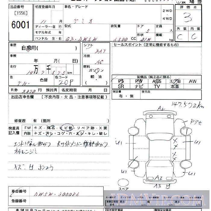1999 MAZDA DEMIO  DW5W - 6001 - JU Tokyo