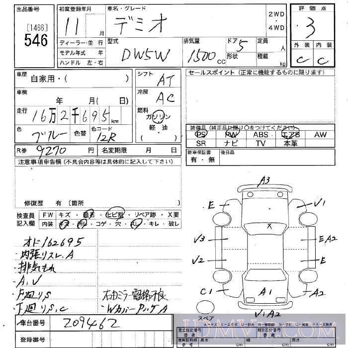 1999 MAZDA DEMIO  DW5W - 546 - JU Niigata