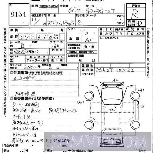 1999 MAZDA SCRUM TRUCK  DG52T - 8154 - USS Okayama