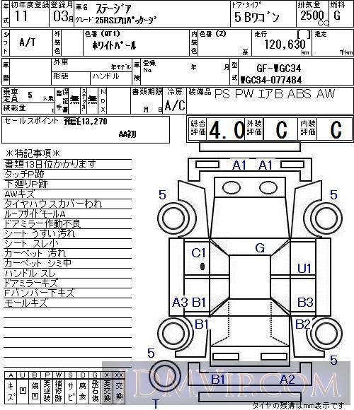 1999 NISSAN STAGEA 25RS WGC34 - 7155 - NAA Tokyo