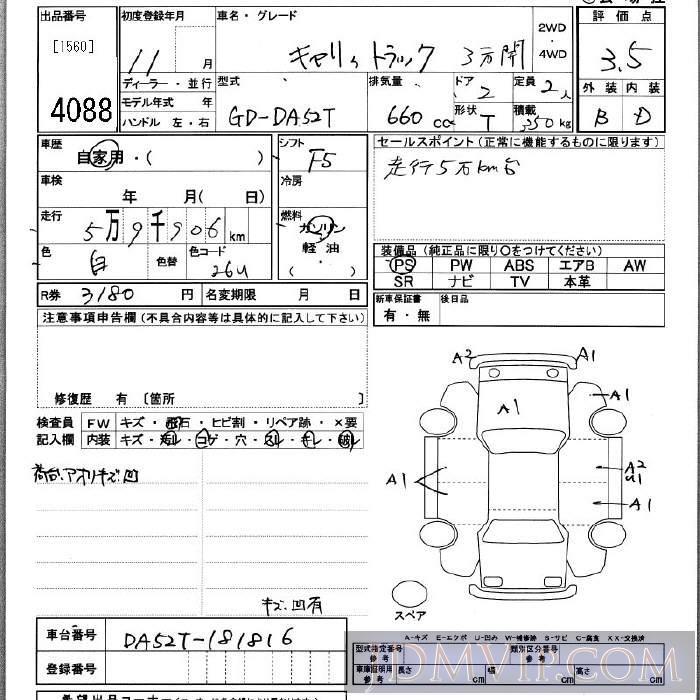 1999 SUZUKI CARRY TRUCK 3 DA52T - 4088 - JU Kanagawa