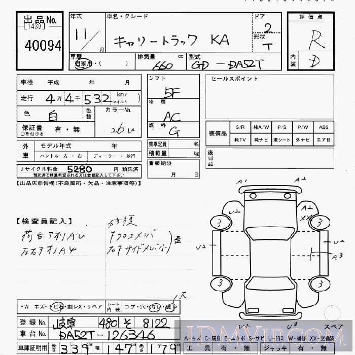 1999 SUZUKI CARRY TRUCK KA DA52T - 40094 - JU Gifu
