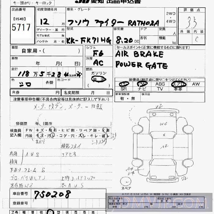 2000 MITSUBISHI FUSO  FK71HG - 5717 - JU Aichi