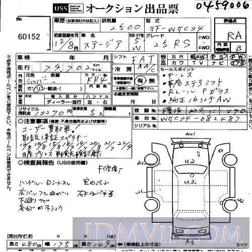 2000 NISSAN STAGIA 25RS WGC34 - 60152 - USS Yokohama