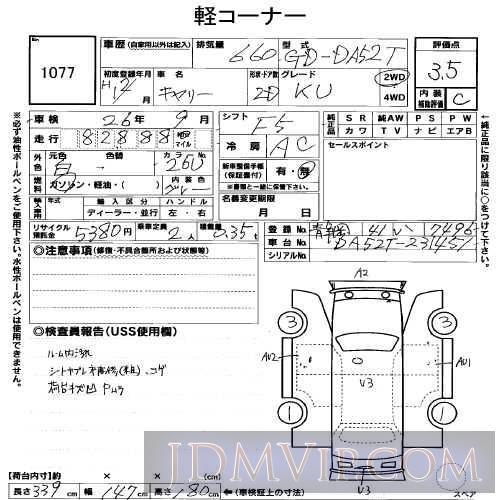2000 SUZUKI CARRY TRUCK KU DA52T - 1077 - USS Shizuoka