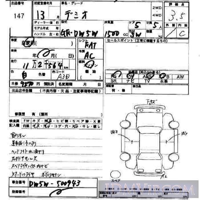 2001 MAZDA DEMIO  DW5W - 147 - JU Hiroshima