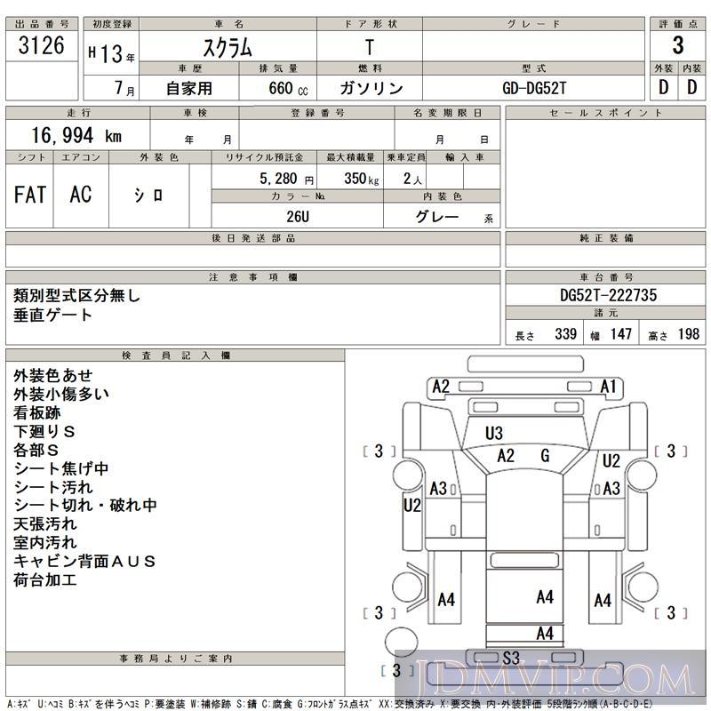 2001 MAZDA SCRUM TRUCK  DG52T - 3126 - TAA Hiroshima