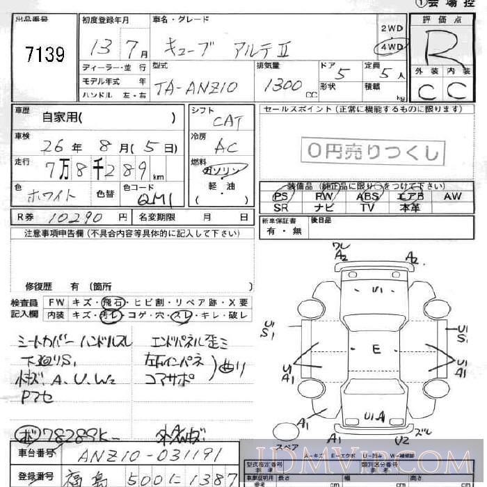 2001 NISSAN CUBE 2 ANZ10 - 7139 - JU Fukushima
